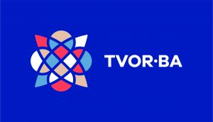 TVOR•BA logo horizontálne farebné na tmavom podklade