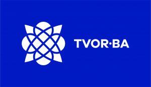 TVOR•BA logo horizontálne modré inverzné