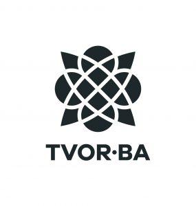 TVOR•BA logo vertikálne čiernobiele