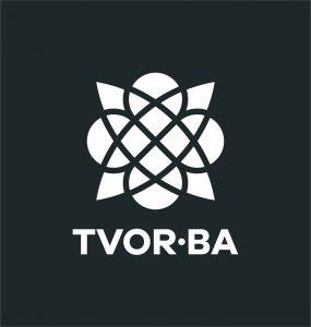 TVOR•BA logo vertikálne čiernobiele inverzné