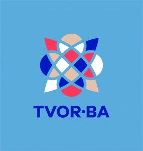 TVOR•BA logo vertikálne farebné na svetlom podklade