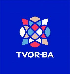 TVOR•BA logo vertikálne farebné na tmavom podklade