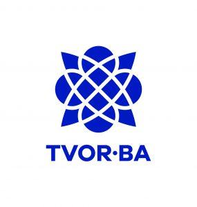 TVOR•BA logo vertikálne modré